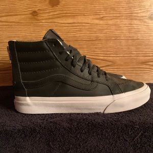 Vans Unisex Black Leather Zip Up Sk8-Hi Mens 4.5